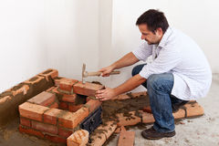 Building a masonry heater - the beginning Stock Photos
