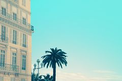 Building of Massena square in Nice, France. Creative trendy travel concept stock photography