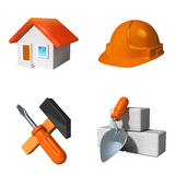 Building materials. Tools helmet and construction Royalty Free Stock Image