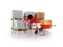 Building materials 3d render on a white background Stock Images