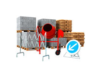 Building materials 3d render on write background no shadow stock illustration
