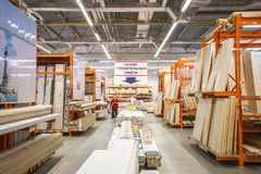 Building materials in the hardware store. People are looking for finishing materials for repairs in the house and apartment. Russia, Sverdlovsk, 10 September stock image