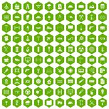 100 building materials icons hexagon green Royalty Free Stock Images