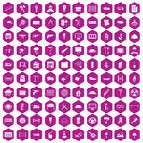 100 building materials icons hexagon violet. 100 building materials icons set in violet hexagon isolated vector illustration stock illustration
