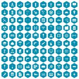 100 building materials icons sapphirine violet. 100 building materials icons set in sapphirine hexagon isolated vector illustration royalty free illustration