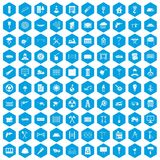 100 building materials icons set blue. 100 building materials icons set in blue hexagon isolated vector illustration vector illustration
