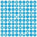 100 building materials icons set blue. 100 building materials icons set in blue hexagon isolated vector illustration Vector Illustration