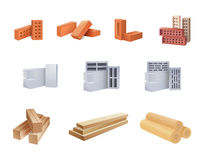 Building Materials Icons. Set of construction materials icons - Vector illustration Royalty Free Stock Image