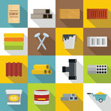 Building materials icons set, flat style. Building materials icons set. Flat illustration of 16 building materials vector icons for web Stock Illustration