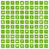 100 building materials icons set grunge green Royalty Free Stock Photo
