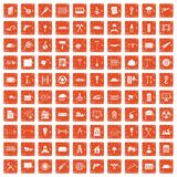 100 building materials icons set grunge orange. 100 building materials icons set in grunge style orange color isolated on white background vector illustration Stock Image