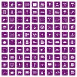100 building materials icons set grunge purple Stock Photo