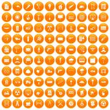 100 building materials icons set orange. 100 building materials icons set in orange circle isolated vector illustration vector illustration