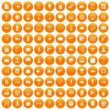 100 building materials icons set orange. 100 building materials icons set in orange circle isolated vector illustration Royalty Free Stock Photo