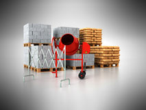 Building materials pallets 3d render on gray background Royalty Free Stock Photography