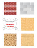 Building materials patterns.  Walls textures.. Seamless patterns of building materials. Walls textures. Construction industry Royalty Free Stock Photo
