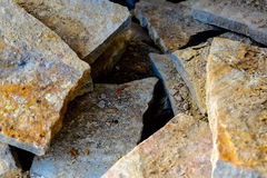 Building materials, pile of decorative flat landscape rock Royalty Free Stock Photos