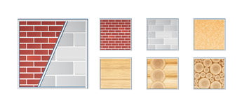 Building materials. A vector illustration of various wall elements for building and construction. Grouped and layered for easy editing. Close view Royalty Free Stock Photography