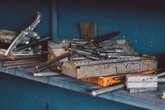 Building and measuring tools in the workshop. Royalty Free Stock Photos