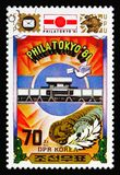 Building, medallion, Philatokyo '81 International Stamp Exhibition Tokyo serie, circa 1981. MOSCOW, RUSSIA - AUGUST 18, 2018: A stamp printed in Korea royalty free stock photography