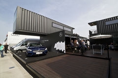 Building of Mercedes-Benz on the DTM car race Stock Photography