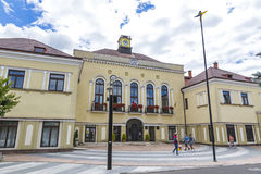Building of Michalovce Town Hall, Slovakia. MICHALOVCE, SLOVAKIA - JULY 3, 2017: Building of Michalovce Town Hall Slovak: Mestsky Urad, Slovakia. Michalovce is Stock Photo