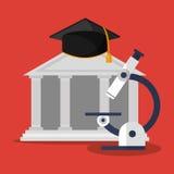 Building microscope and graduation cap Stock Photo