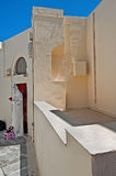 The building and the mime in Oia, Santorini, Greece Royalty Free Stock Photo
