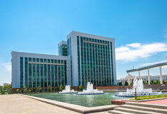The building of the Ministry of Finance in Tashkent, Uzbekistan. The modern building of the Ministry of Finance in Tashkent, Uzbekistan in the summer sunny day Stock Images