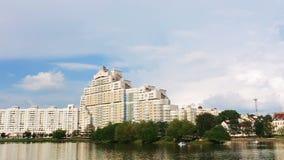 Building In Minsk in Central Downtown Nyamiha Nemiga Near Trojeckaje Pradmiescie. Belarus. stock video footage