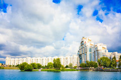 Building in Minsk. Downtown (Nemiga) View with Svisloch River, Belarus Stock Photo
