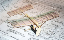 Building a model airplane stock photo
