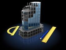 Building model. 3d illustration of building model over black background Stock Images