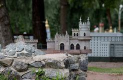 Building model. Swallow`s Nest castle located in Crimea layout Royalty Free Stock Photos