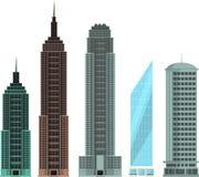 Building modern apartment skyscraper skyline set 8 Stock Photography