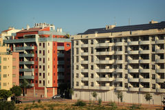 Building. Modern apartment building with solar panel on roof in Murcia, Spain Stock Photos