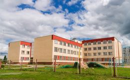 Building of modern Russian school Royalty Free Stock Image