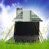 Building money house origami in the meadow. Money house origami 3d illustration Royalty Free Stock Photos