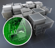 Building monitoring system. 3D rendering of building monitoring concepts Stock Image