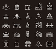 Building and monument icons Stock Image