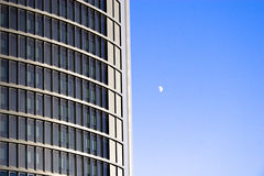 Building and Moon Stock Photo