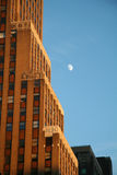 Building with Moon. Daytime Moon Building royalty free stock photos
