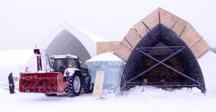Building more. Construction at The Ice Hotel, Quebec, Canada royalty free stock photos