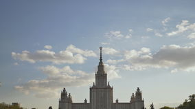The building of Moscow State University. Shooting in the evening summer at sunset against a background of a multicolored stock footage
