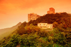 Building on mountain top in Hong Kong Royalty Free Stock Photography