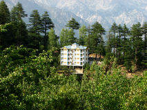 Building in the Mountains. A view of a building in Kalpa, a Himalayan mountain village in Himachal Pradesh, India Royalty Free Stock Photography