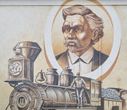 Building mural in Punta Gorda, Florida. Punta Gorda, Florida building mural represetning locomotive and historical figure of Punta Gorda Stock Images