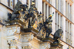 Building named Shutting in Bremen, Germany. Detail of the facade.  stock images
