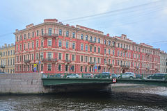 Building of national baths and profitable house of Voronin on Moika River in Saint Petersburg, Russia Stock Images