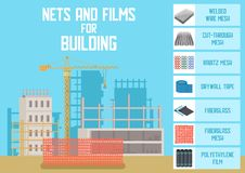 Building Nets, Meshes and Films Flat Vector Banner royalty free illustration